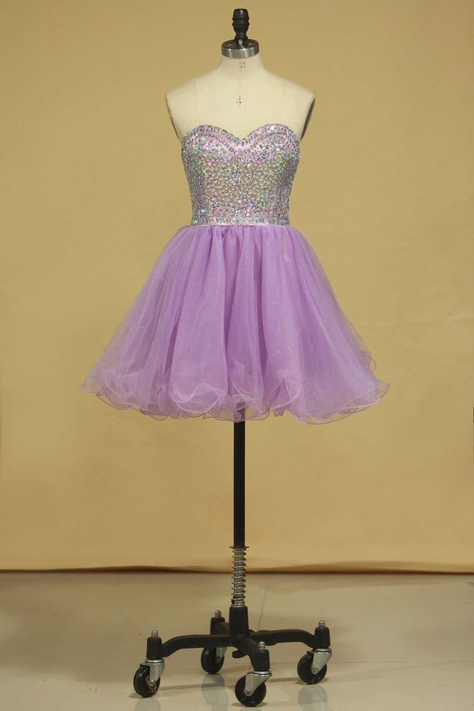 2021 A Line Sweetheart Homecoming Dresses Tulle With Rhinestone Short/Mini
