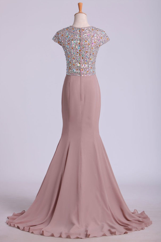 Scoop Prom Dresses Beaded Bodice Chiffon Trumpet Sweep