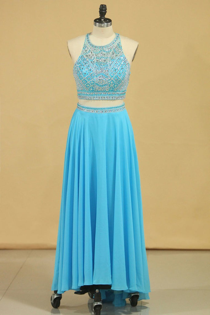 2021 Two-Piece Scoop Prom Dresses A Line Open Back Chiffon & Tulle With