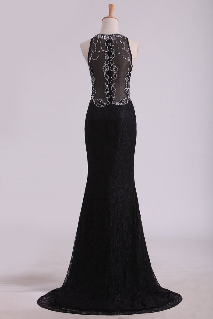 2019 New Arrival Scoop Prom Dresses Mermaid Beaded Bodice Sweep Train Lace