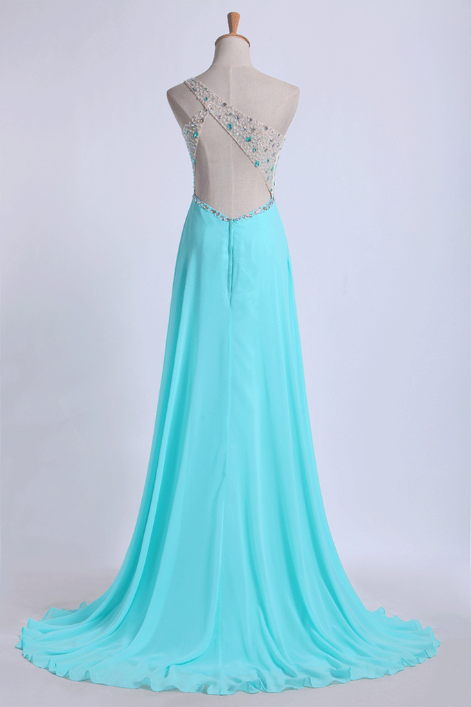 2019 One Shoulder Prom Dresses A Line With Beading Tulle And Chiffon Sweep Train