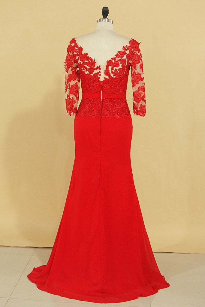 Red V Neck 3/4 Length Sleeve Mother Of The Bride Dresses Chiffon With