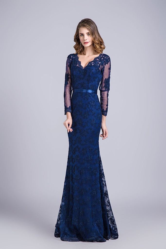 2021 V-Neck Evening Dresses Mermaid With Applique Lace And