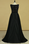 2019 Black Prom Dresses Black Bodice Scoop Satin Floor Length Beaded & Belt