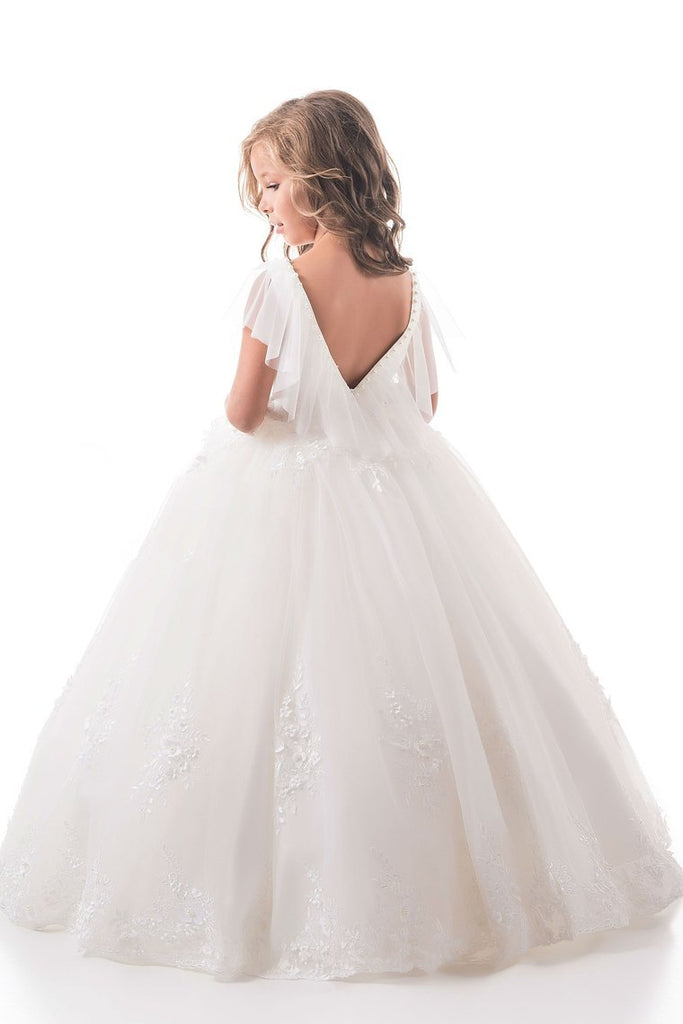 2019 Open Back Scoop Tulle With Applique Ball Gown Flower Girl
