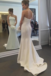 Simple Strapless Mermaid Wedding Dresses Elegant Ivory Sweep Train Wedding STCPNRE33JG