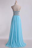 2021 Sweetheart Prom Dresses A-Line Chiffon Floor Length With