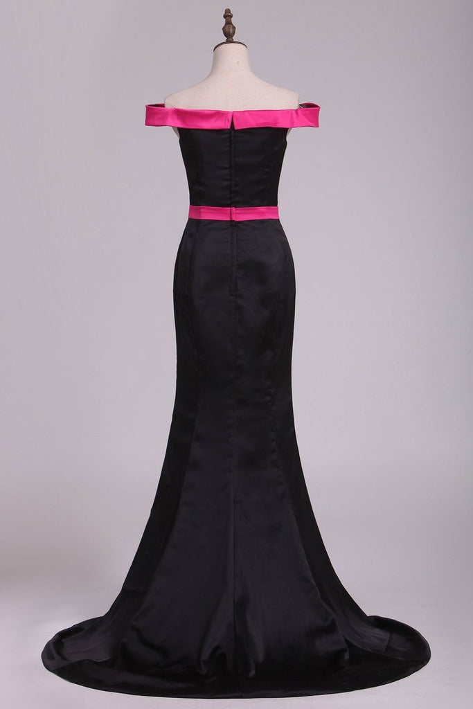 Boat Neck Stretch Satin Evening Dresses Mermaid Sweep Train Bicolor