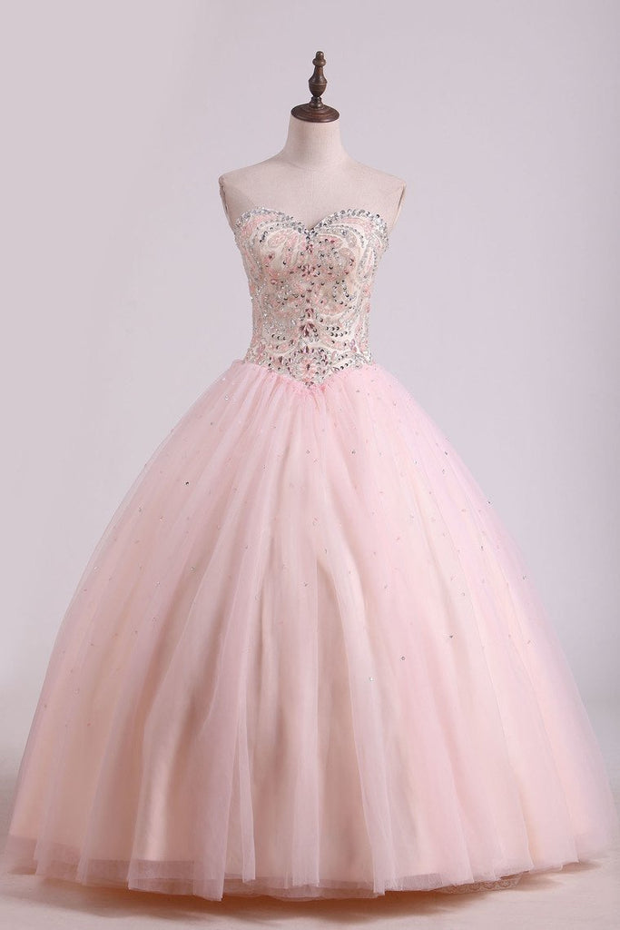 2021 Ball Gown Tulle With Beading Floor Length Quinceanera Dresses