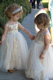 Cute Glitter A Line Gold Sequins Tulle Flower Girl Dresses, Little Girl Dresses STC15573