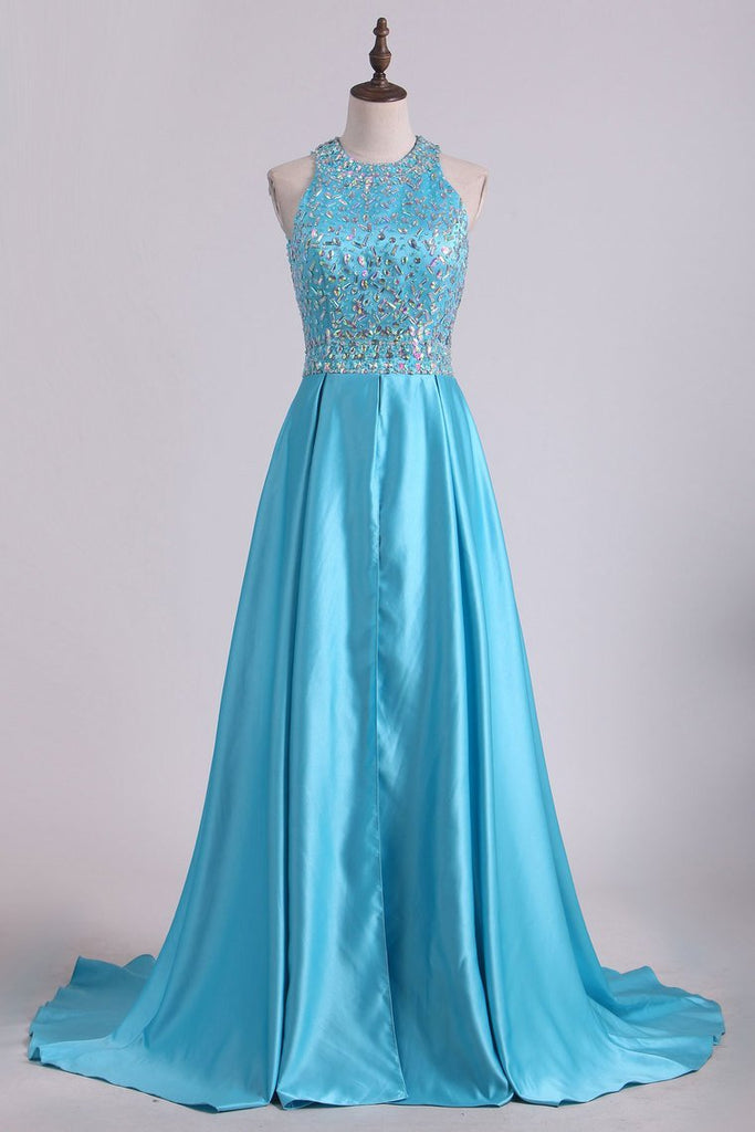 Scoop Beaded Bodice Open Back A Line Satin Prom