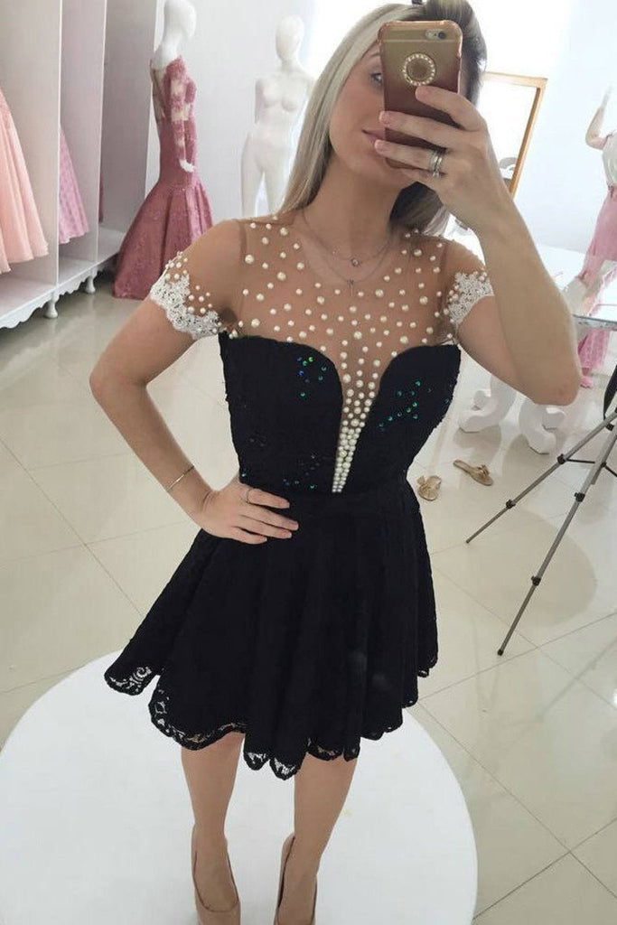 2019 A Line Scoop Short Sleeves Lace With Applique And Beads Homecoming