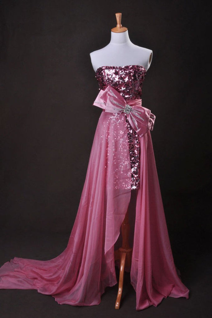 Pink Sheath/Column Strapless Asymmetrical Chiffon