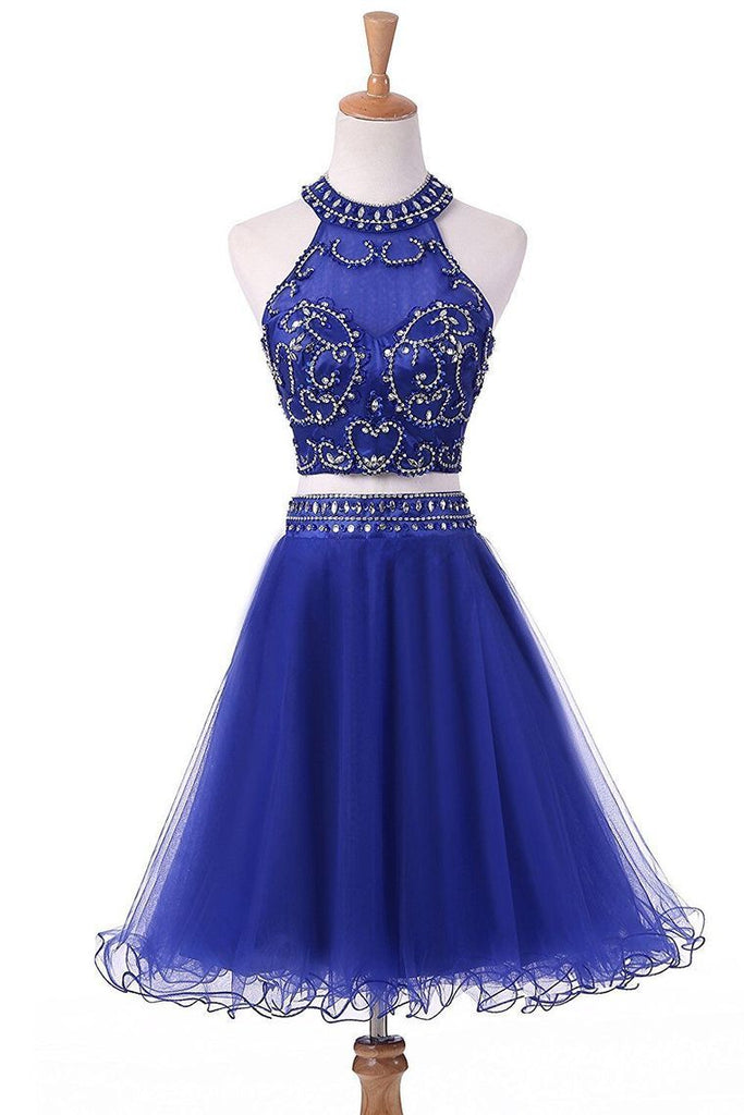 2019 A Line Scoop Two-Piece Beaded Bodice Homecoming Dresses