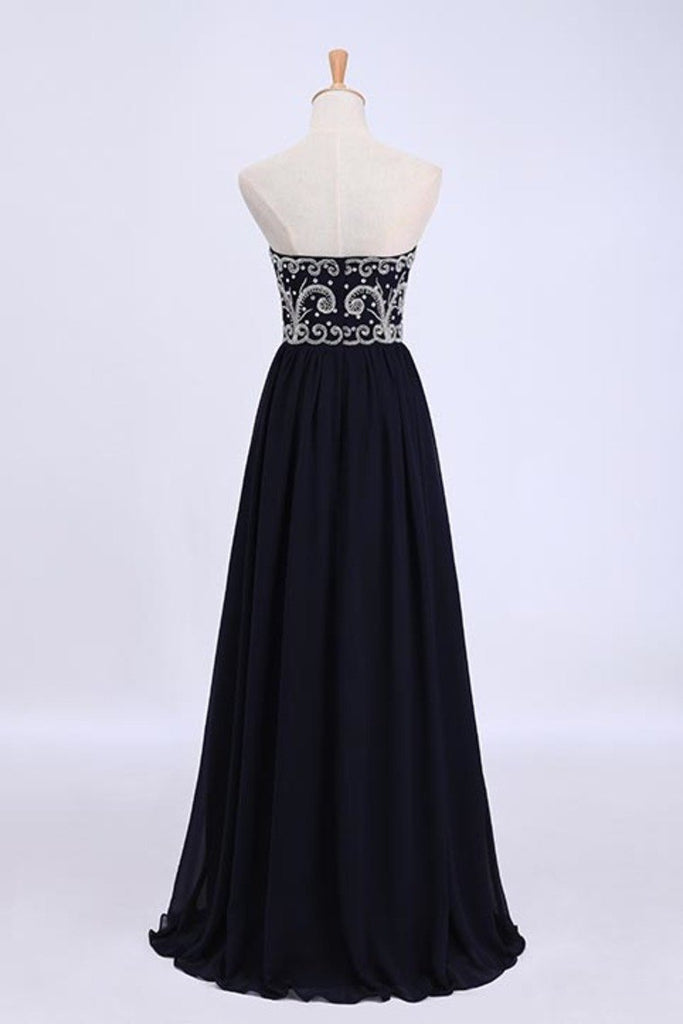 2019 Dark Navy Blue Prom Dresses Sweetheart Floor Length Chiffon With Silver Beading