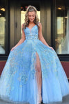 Elegant A Line Lace Appliques Blue V Neck Prom Dresses, Long Evening STC15635