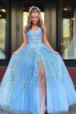 Elegant A Line Lace Appliques Blue V Neck Prom Dresses Long Evening STC15635