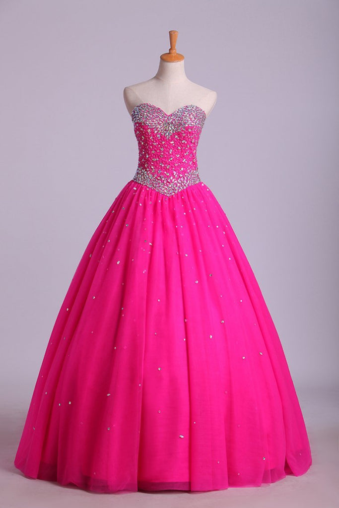 2019 Sweetheart Ball Gown Floor Length Dress Beaded Bodice Corset Tie Back