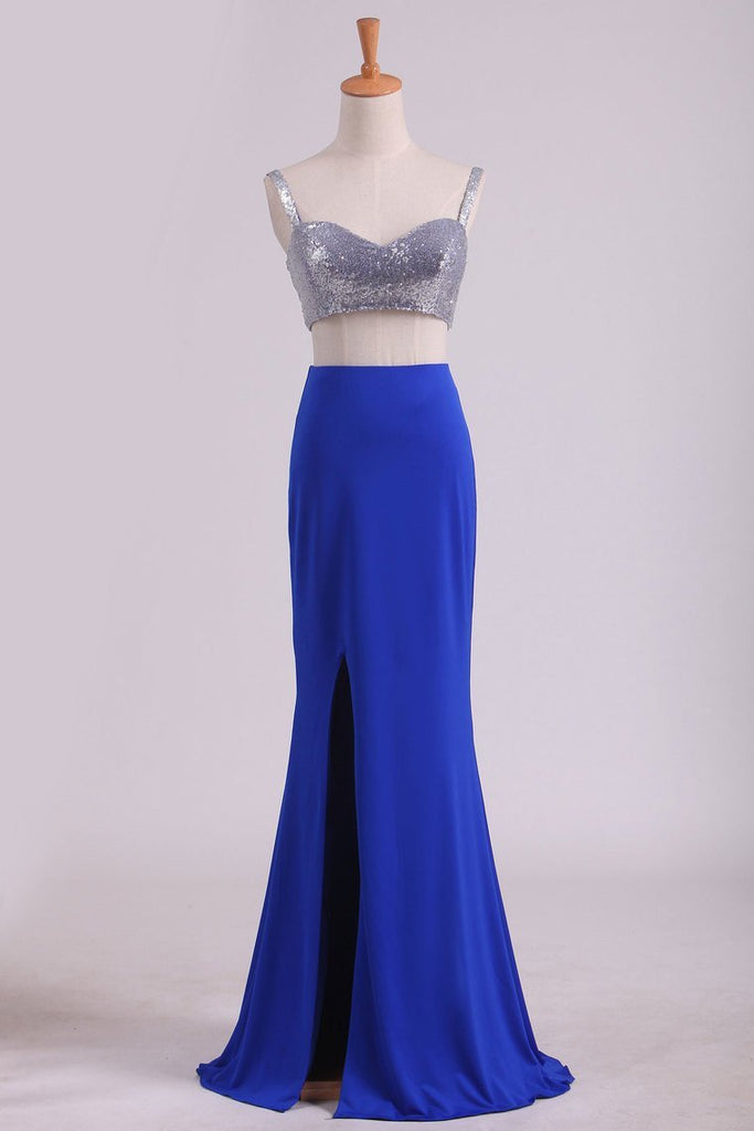 2019 Spaghetti Straps Two Pieces Sheath Prom Dresses Spandex With Slit And