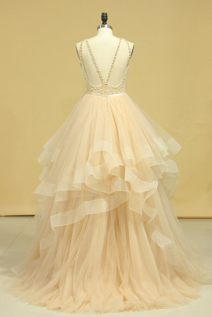 Popular Scoop Ball Gown Tulle Floor Length With Beading