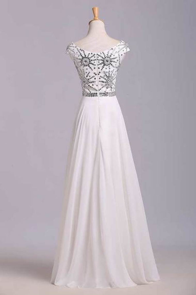Flamboyant A Line High Scoop Neck Floor Length Ivory Chiffon Beading