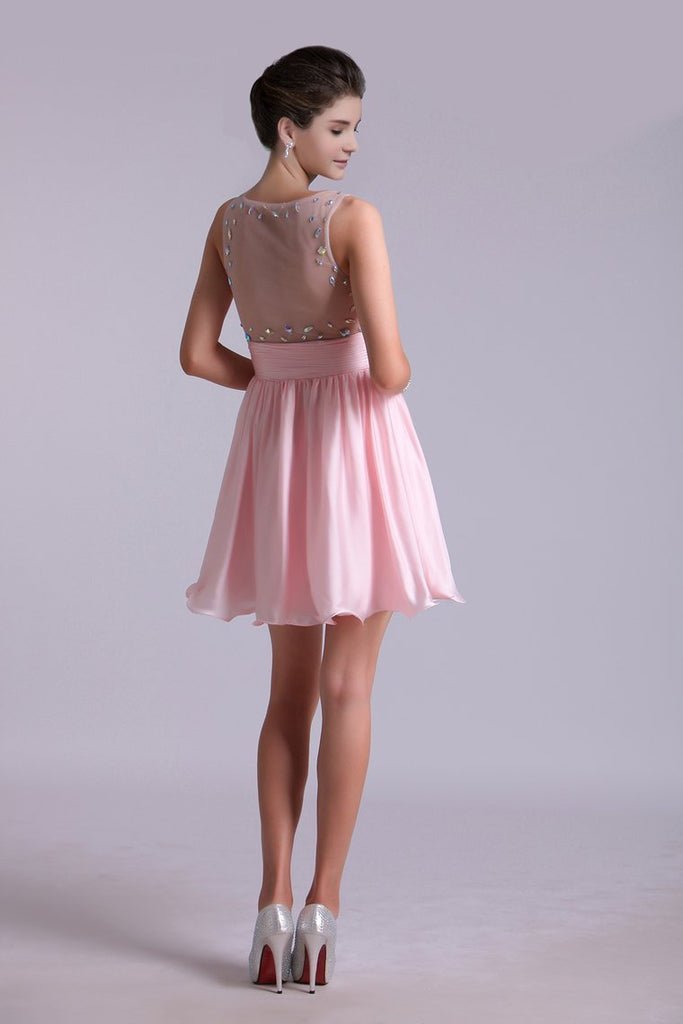Lovely Homecoming Dresses A Line Scoop Chiffon Short/Mini