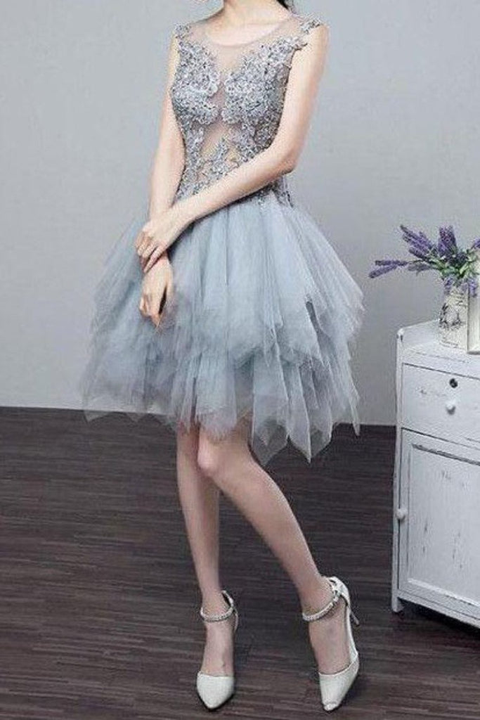 2019 See-Through Homecoming Dresses A Line Scoop Tulle
