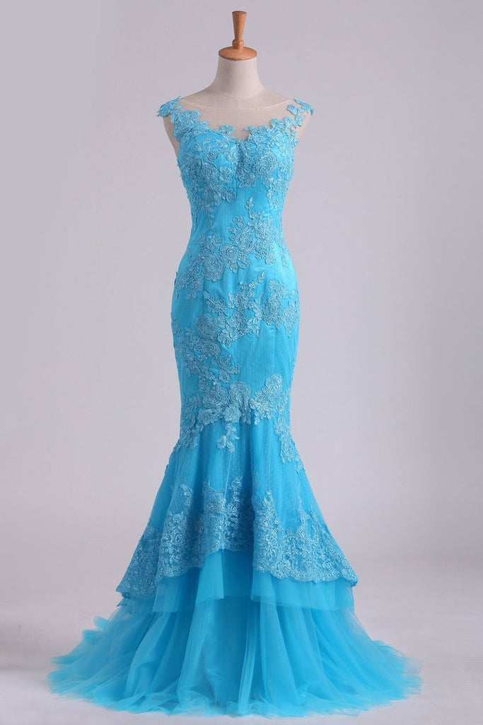 Mermaid Evening Dresses Bateau Tulle With Applique Sweep Train