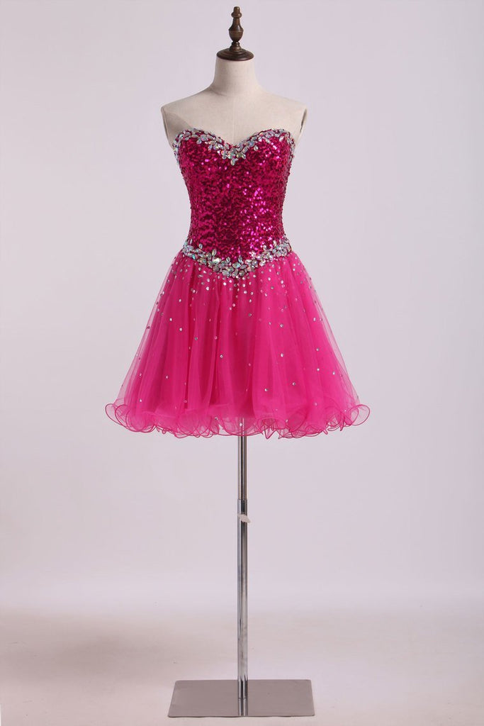 2019 Homecoming Dresses A Line Sweetheart Short/Mini With Beading