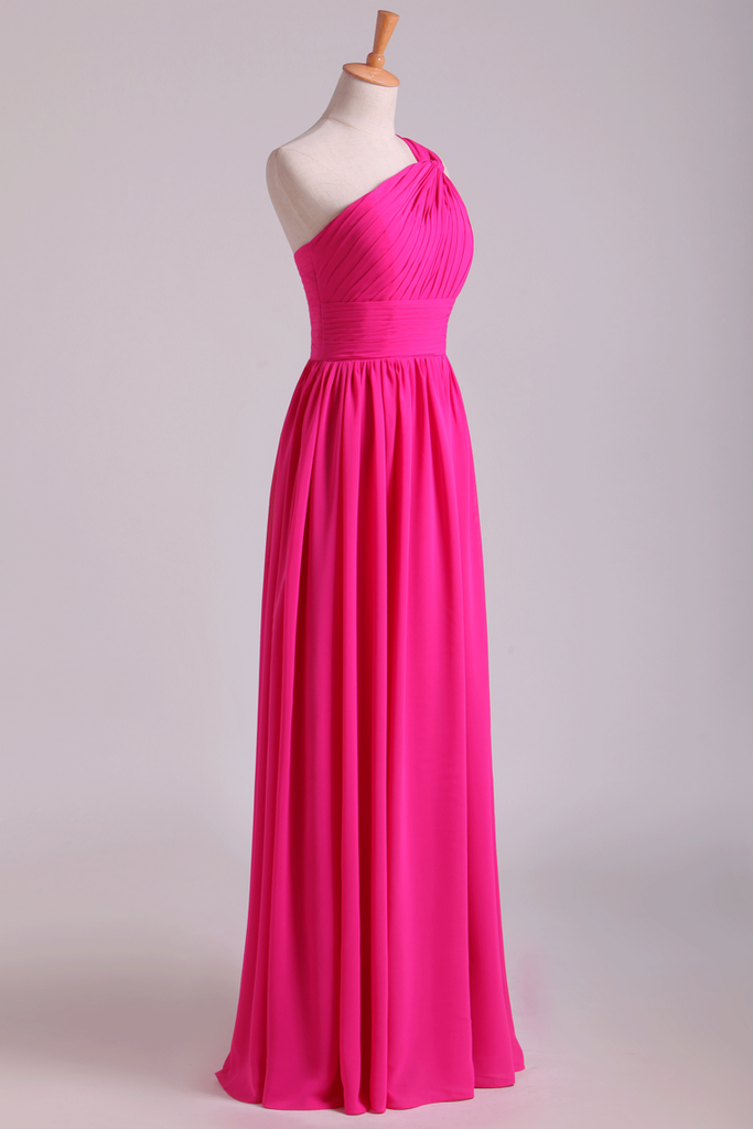 2019 Fuchsia One Shoulder A Line Chiffon Bridesmaid Dresses