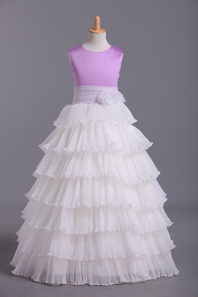 2019 Flower Girl Dresses Ball Gown Scoop Floor Length Organza