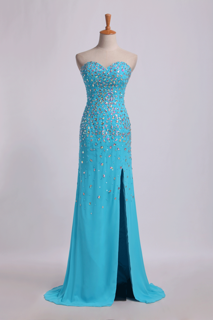 2019 Prom Dresses Sweetheart Rhinestone Beaded Bodice With