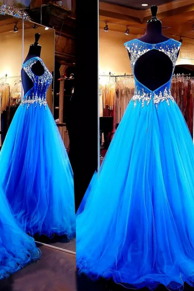 2019 Open Back Scoop Prom Dresses Tulle With Beading Sweep Train A