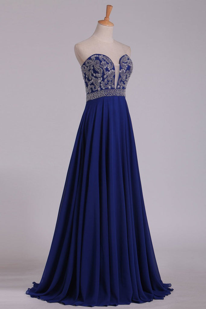2019 New Arrival Sweetheart Beaded Bodice Floor Length Chiffon A Line Prom Dresses Dark Royal Blue