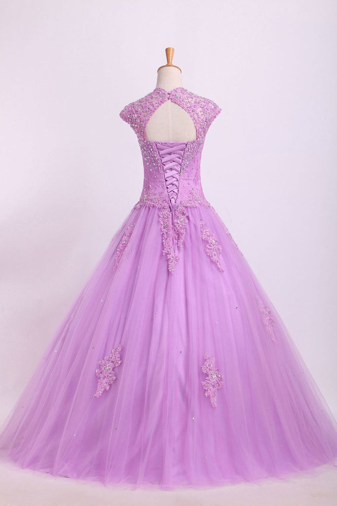 2019 New Arrival Quinceanera Dresses Ball Gown Floor Length Tulle With Beadings&Applique
