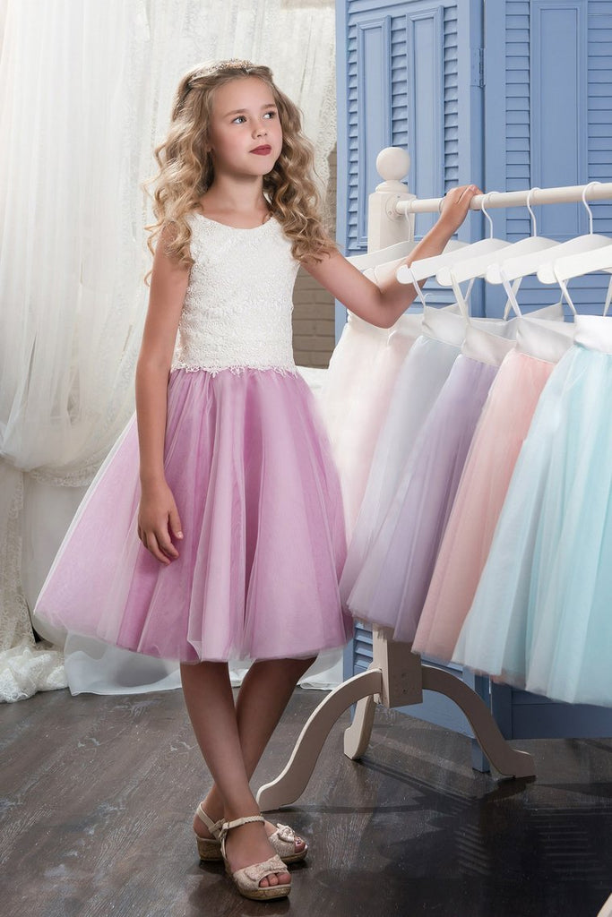 2019 Bicolor Scoop Tulle & Lace A Line Knee Length Flower Girl