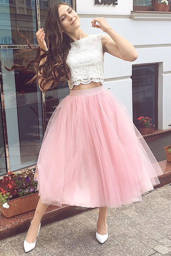 2021 Two-Piece Homecoming Dresses Bateau A Line Tulle & Lace Tea
