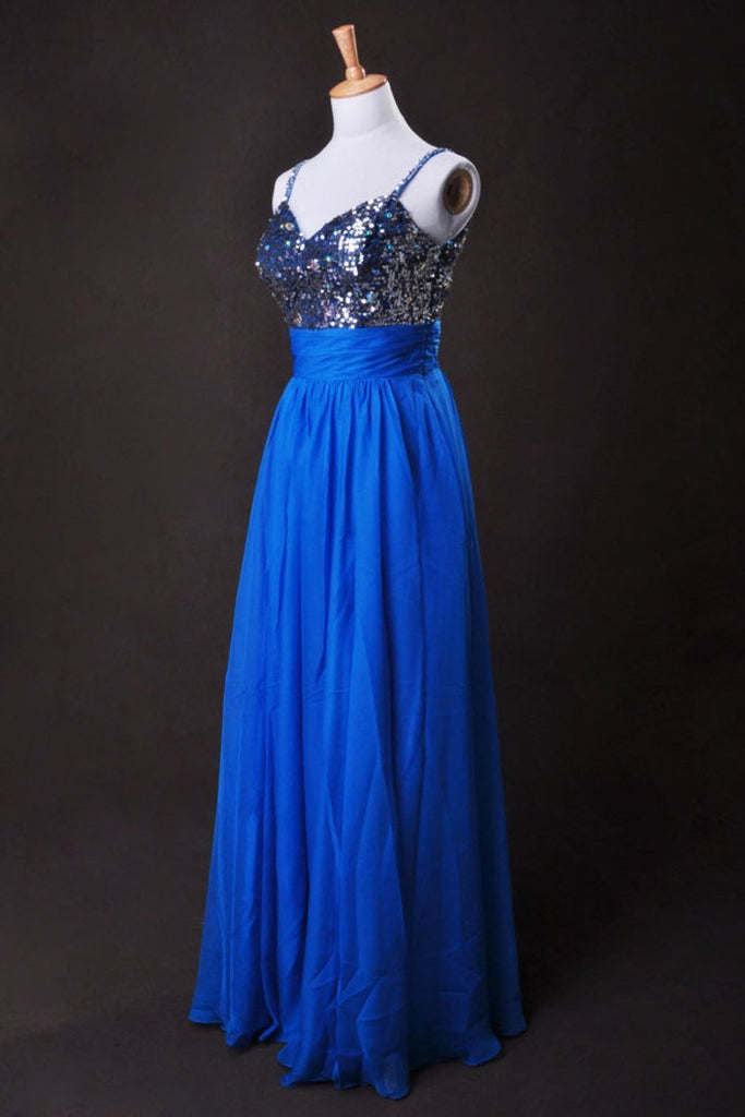 Cheap Prom Dresses Blue A Line Spaghetti Straps Floor Length Chiffon