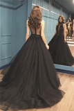 Sexy Ball Gown High Neck Black Tulle V Neck Sequins Party Dresses Prom STCPQC2HNL1