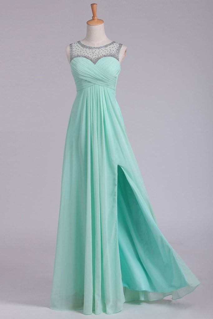 2019 Mint Scoop A Line Prom Dresses Chiffon With Beads & Ruffles Floor Length