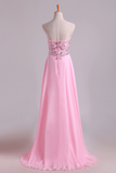2019 New Prom Dresses Sweetheart Chiffon With Beading Floor Length