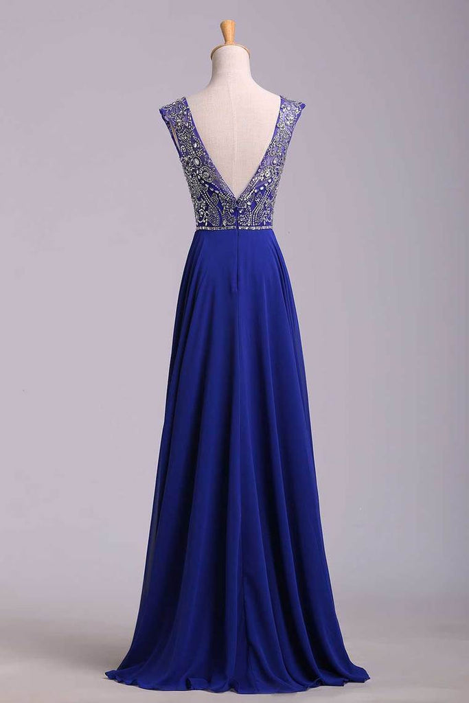 2019 Hot Selling Prom Dresses Dark Royal Blue A-Line Scoop Floor-Length Chiffon