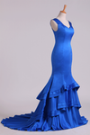 2019 Dark Royal Blue Off-The-Shoulder Mermaid Prom Dresses Sweep Train Satin Zipper Back