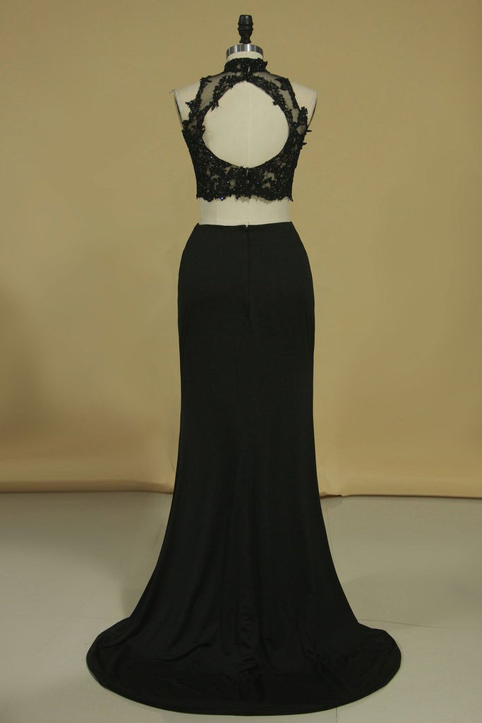 High Neck Two-Piece Spandex  Sheath With Beads And Applique Open Back Prom Dresses