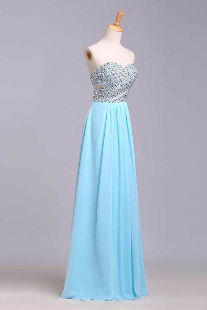 2019 Big Clearance Prom Dresses A-Line Sweetheart Chiffon Floor Length With Beading/Sequins