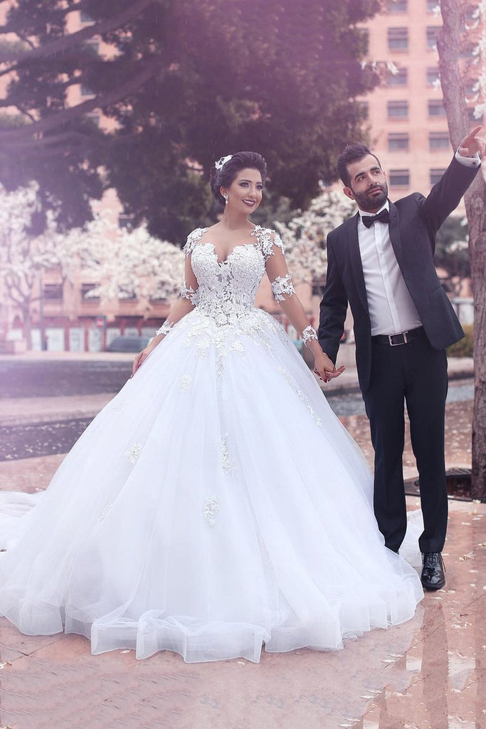 2019 V Neck Long Sleeves A Line Wedding Dresses Tulle With