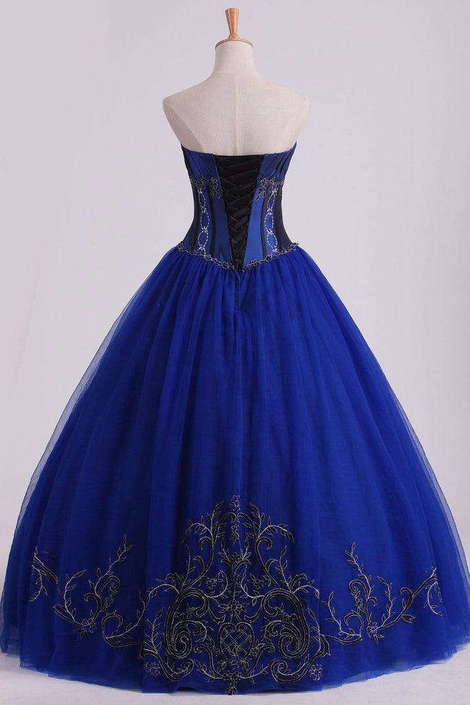 2019 Dark Royal Blue Ball Gown Sweetheart Floor Length Quinceanera Dresses With Beading