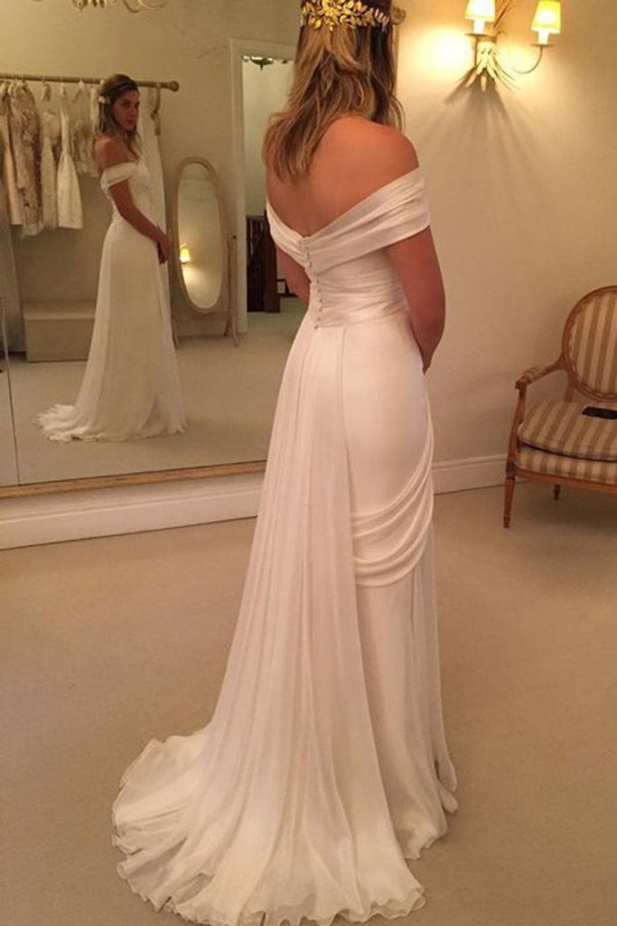 2019 Off The Shoulder Wedding Dresses A Line Chiffon With Ruffles And