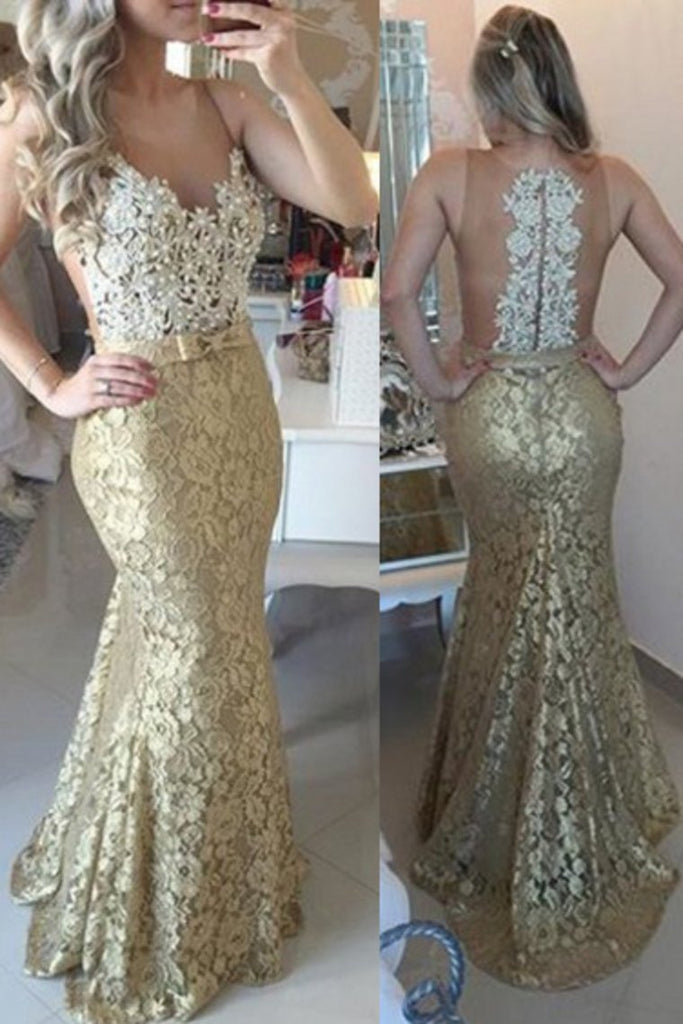 2019 Hot Scoop Prom Dresses Mermaid Lace With Applique And Beads