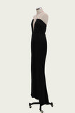 Sexy Black Mermaid V Neck Strapless Prom Dresses with Slit Evening STC15663